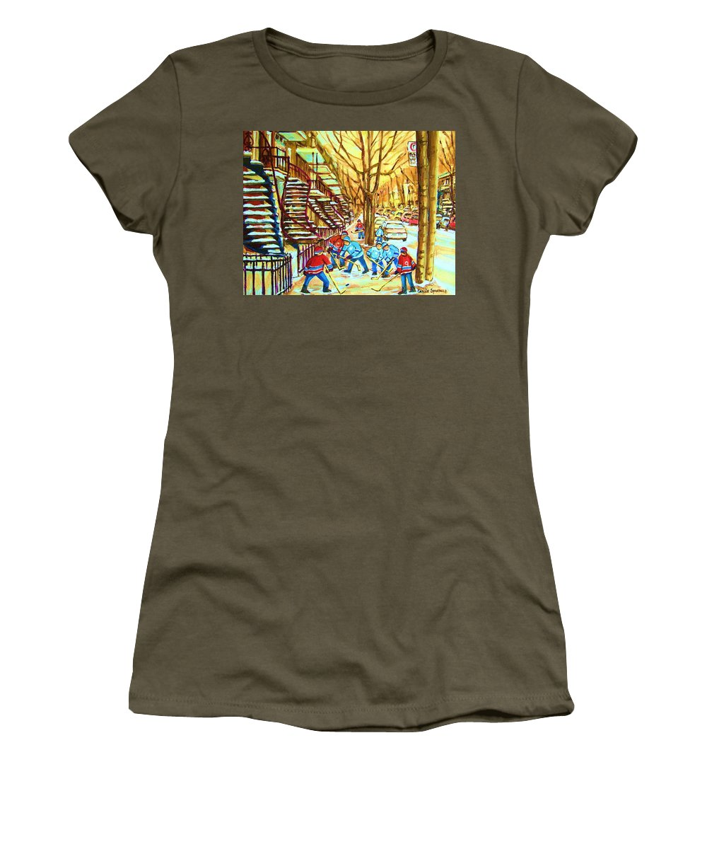 Montreal Women's T-Shirt (Athletic Fit) featuring the painting Hockey Game Near Winding Staircases by Carole Spandau