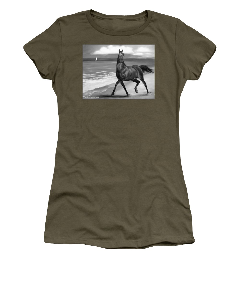 Horses Women's T-Shirt featuring the painting Horses In Paradise Dance by Gina De Gorna