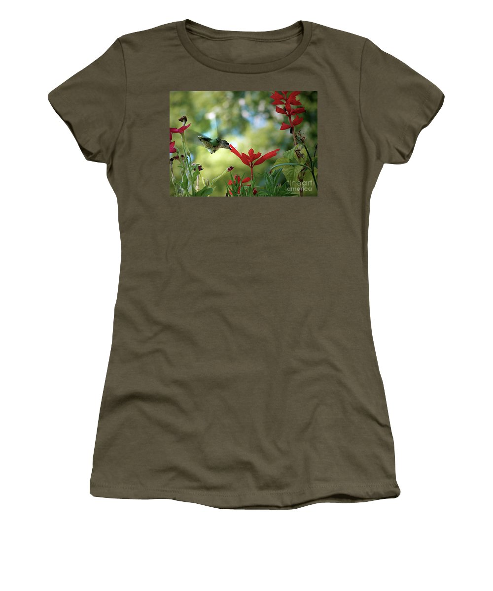Color Photography Women's T-Shirt (Athletic Fit) featuring the photograph Hummingbird Delight by Sue Stefanowicz