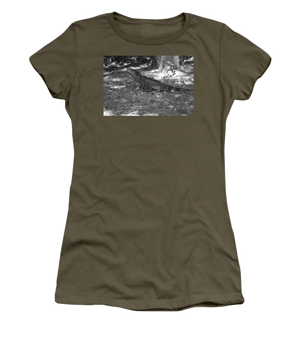 Black And White Women's T-Shirt (Athletic Fit) featuring the photograph I Iguana by Rob Hans