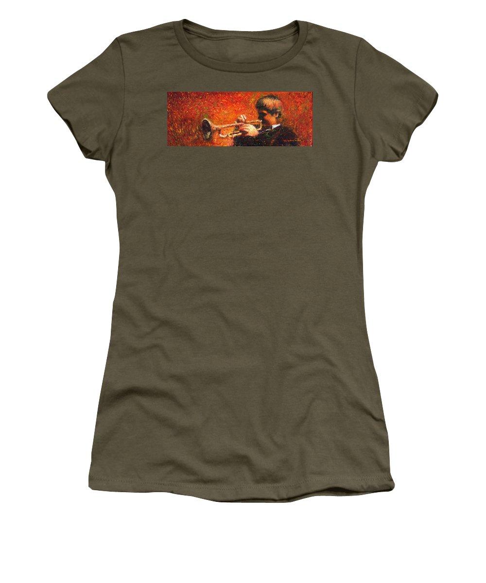 Jazz Women's T-Shirt featuring the painting Jazz Trumpeter by Yuriy Shevchuk