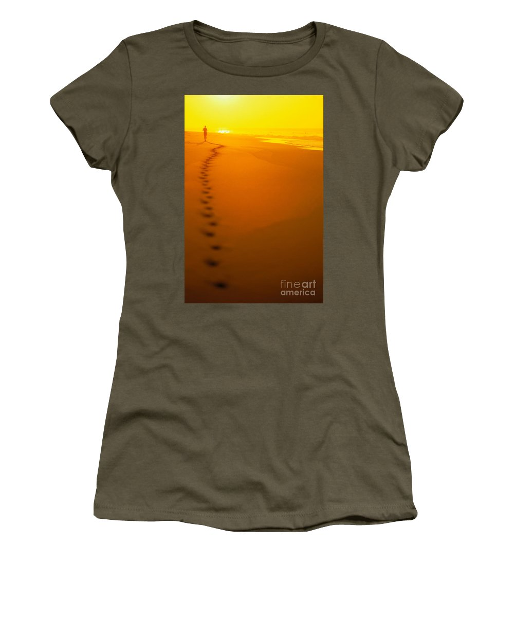 C1211 Women's T-Shirt (Athletic Fit) featuring the photograph Jogging At Sunset by Dana Edmunds - Printscapes