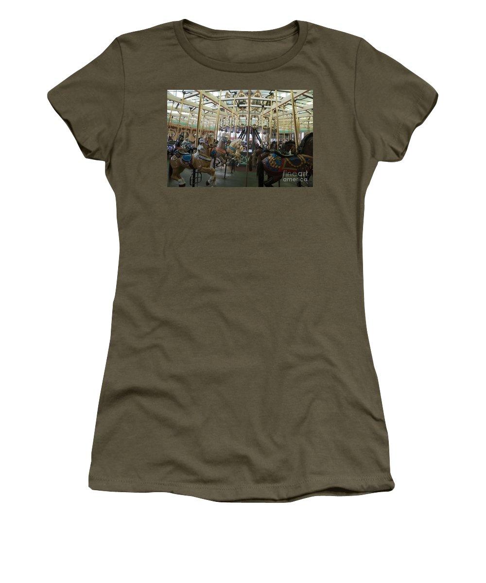 Looff Carousel Women's T-Shirt featuring the photograph Looff Carousel Santa Cruz Boardwalk by Jason O Watson