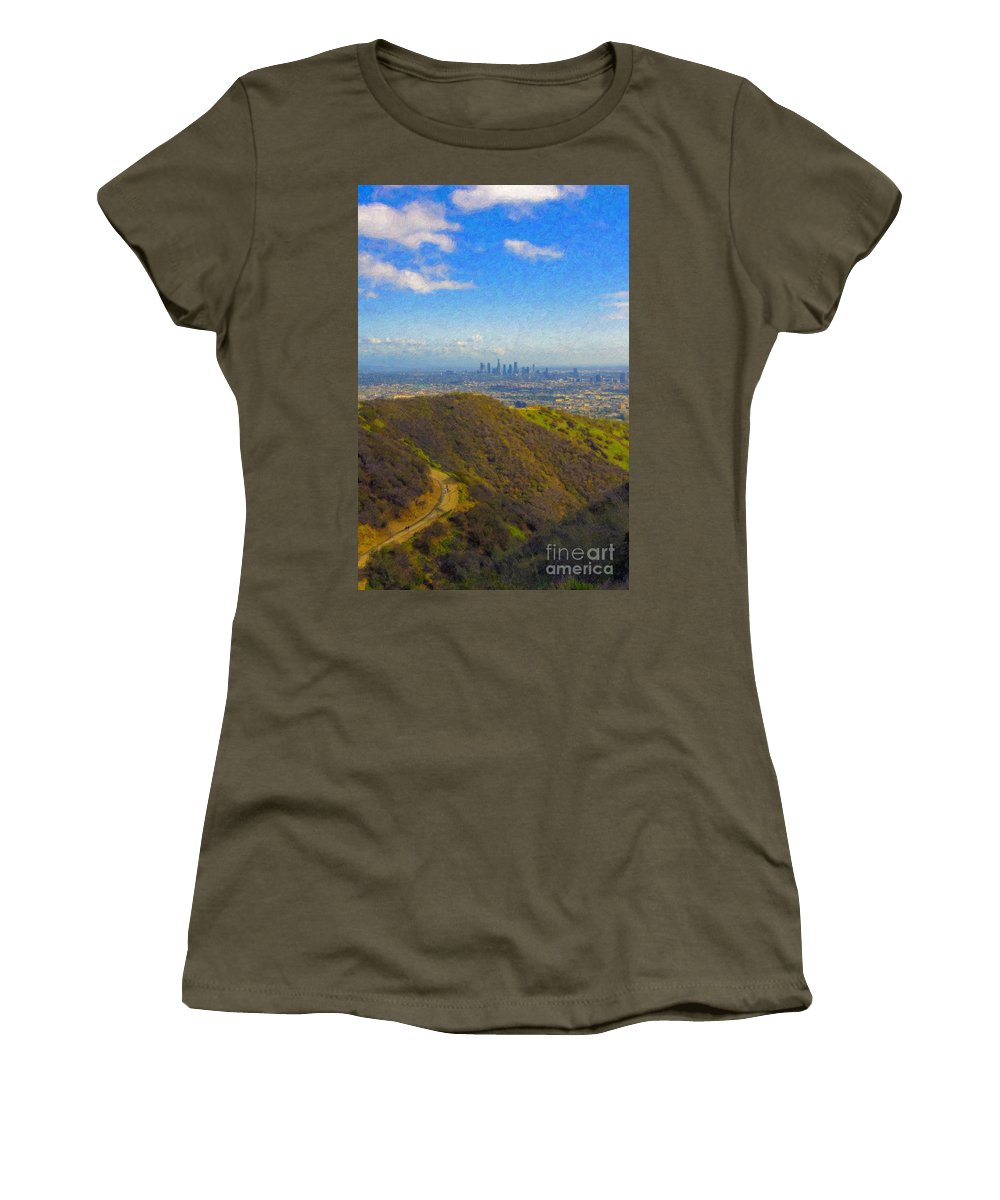 Los Angeles Ca Skyline Hollywood Runyon Canyon Hiking Trail Women's T-Shirt (Athletic Fit) featuring the photograph Los Angeles Ca Skyline Runyon Canyon Hiking Trail by David Zanzinger