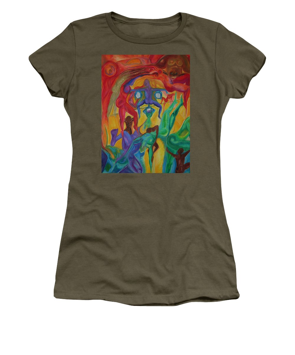 Mann In The Middle Women's T-Shirt featuring the pastel Mann I The Middle by Sitara Bruns