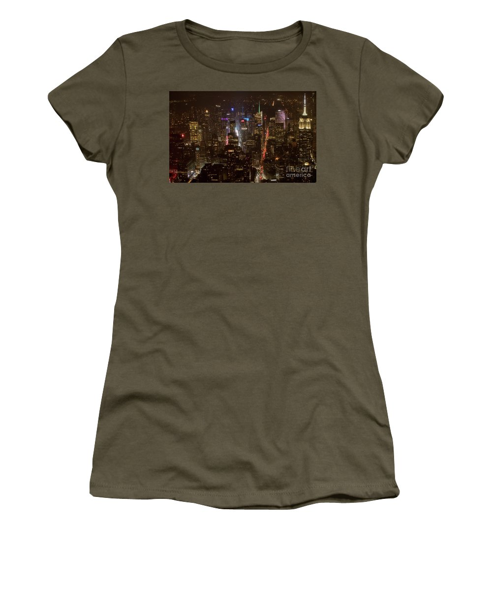 Midtown Women's T-Shirt featuring the photograph Midtown Manhattan Skyline Aerial At Night by David Oppenheimer