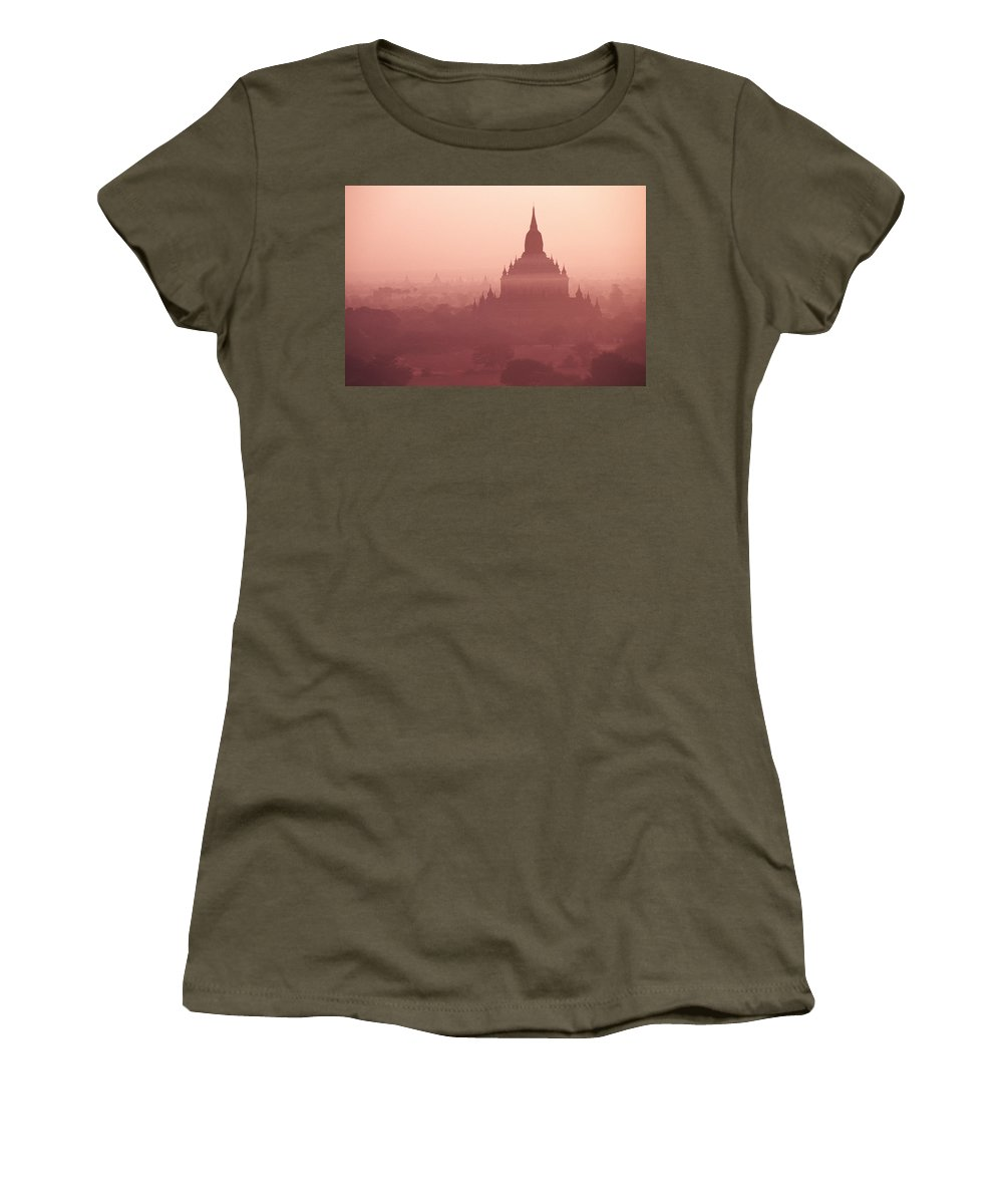 Mist Women's T-Shirt featuring the photograph Misty Dawn In Bagan by Michele Burgess