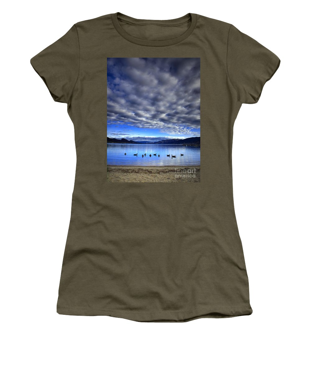 Clouds Women's T-Shirt (Athletic Fit) featuring the photograph Morning Light On Okanagan Lake by Tara Turner