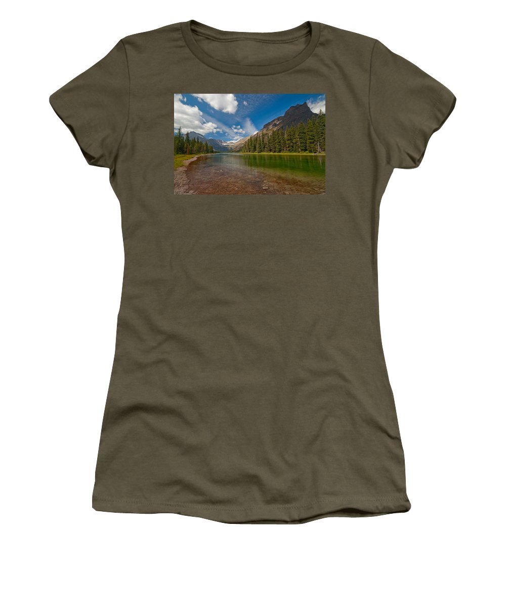Nature Women's T-Shirt (Athletic Fit) featuring the photograph Moutain Lake by Sebastian Musial