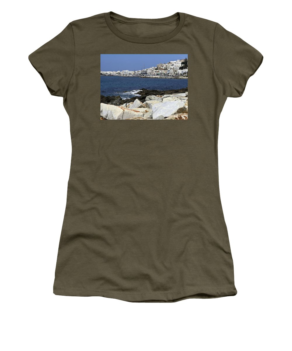 Harbor Scene Women's T-Shirt featuring the photograph Naxos Greece Harbor by Sally Weigand