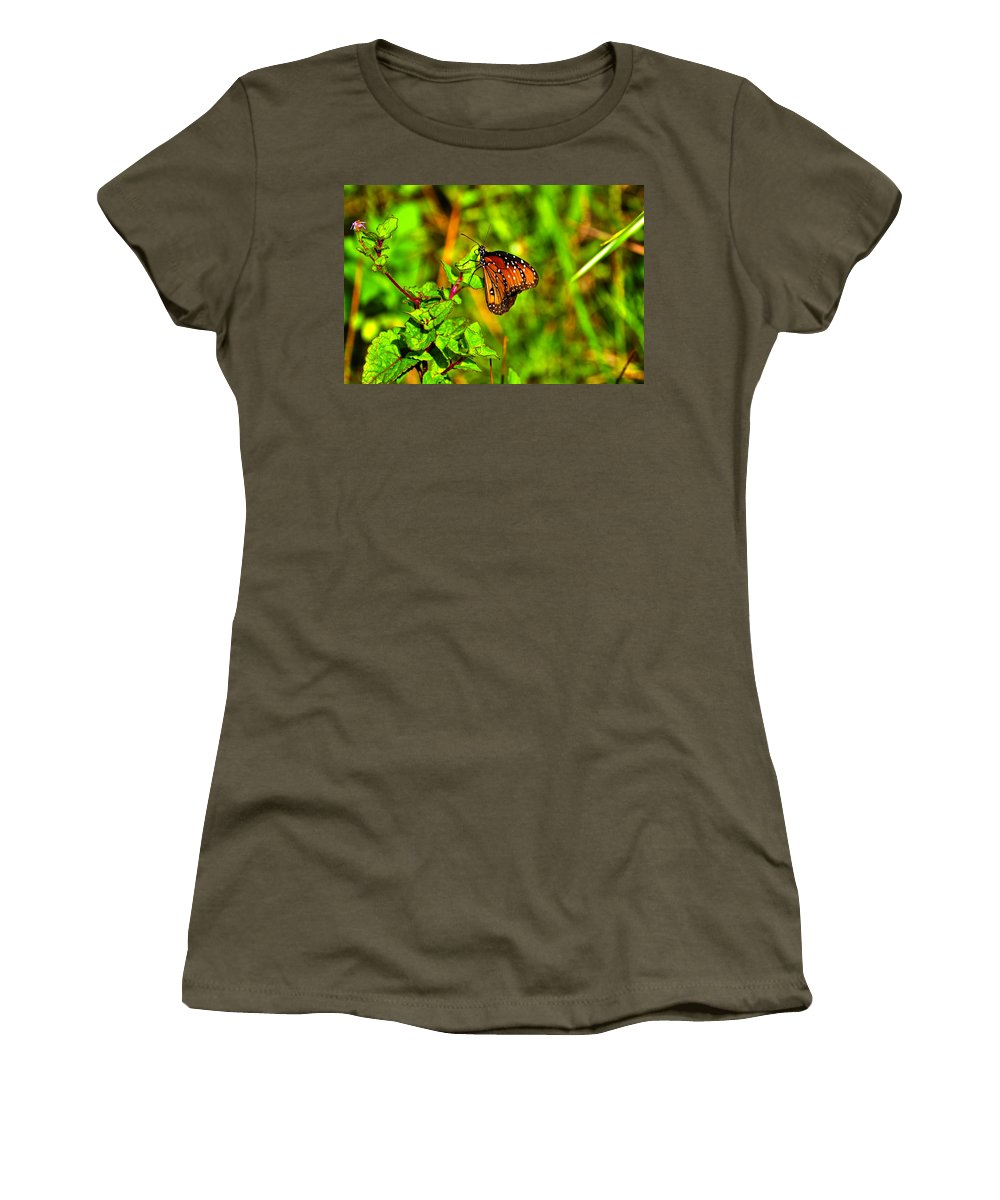 Butterfly Women's T-Shirt featuring the photograph Orange Butterfly Too by Randy Aveille