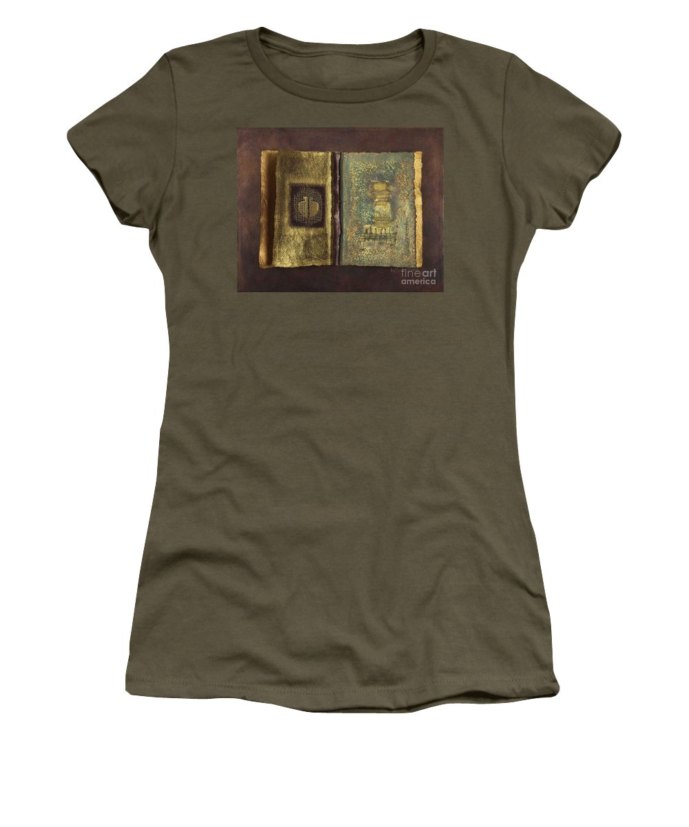 Artist-book Women's T-Shirt (Athletic Fit) featuring the mixed media Page Format No 1 Transitional Series by Kerryn Madsen-Pietsch