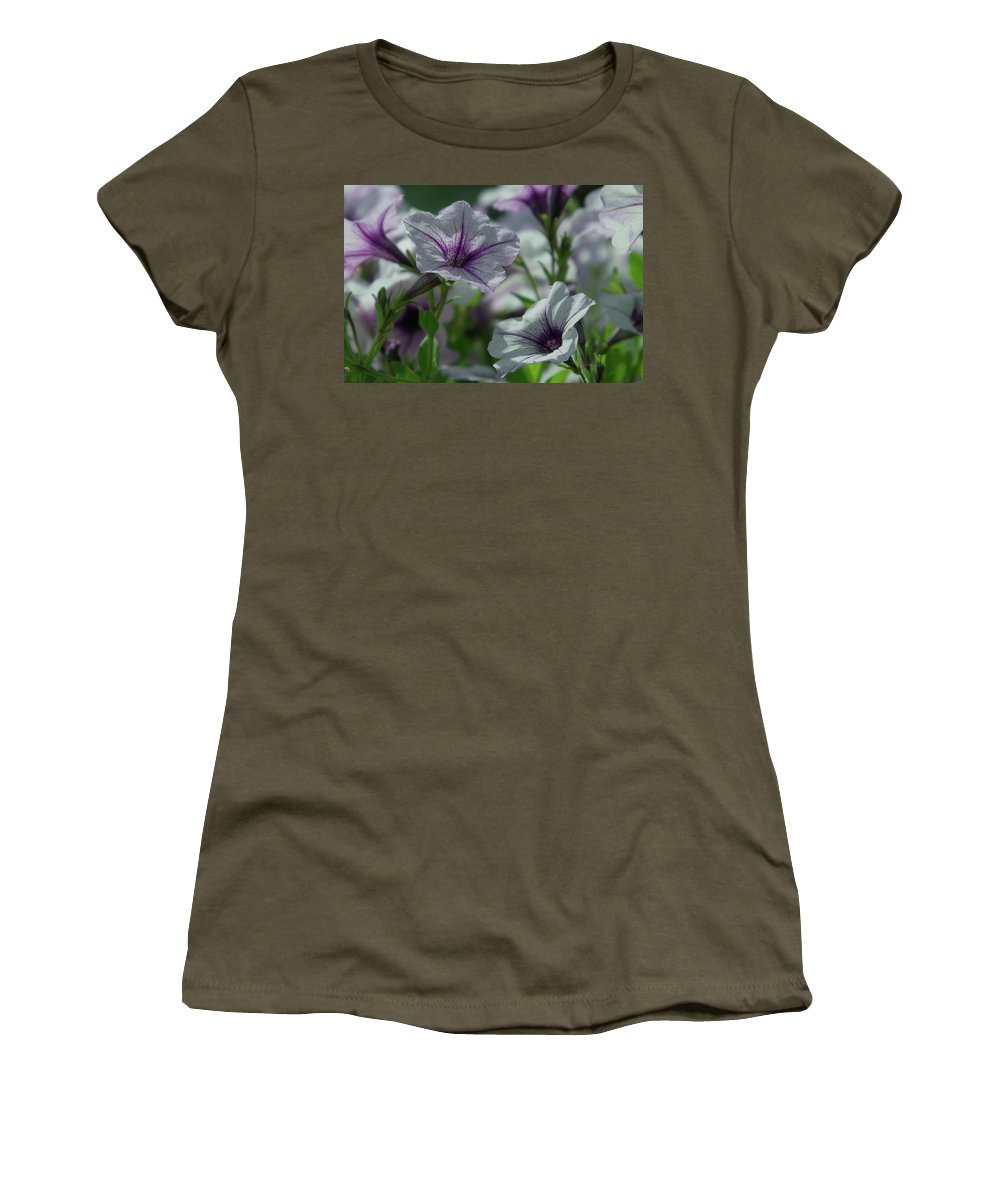 Flowers Women's T-Shirt (Athletic Fit) featuring the photograph Pansies by Jeff Swan