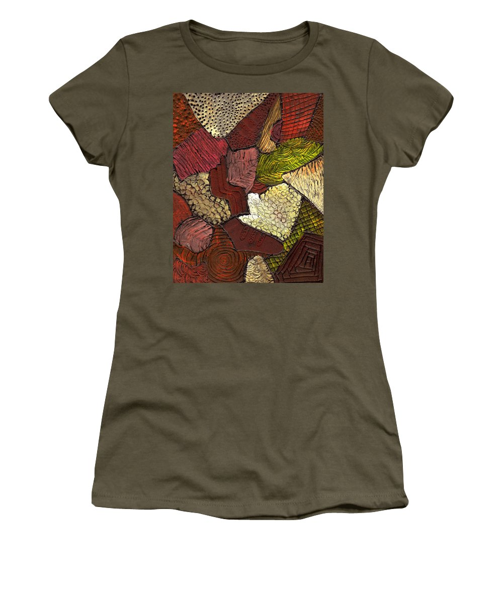 Patchwork Women's T-Shirt (Athletic Fit) featuring the painting Patchwork by Wayne Potrafka