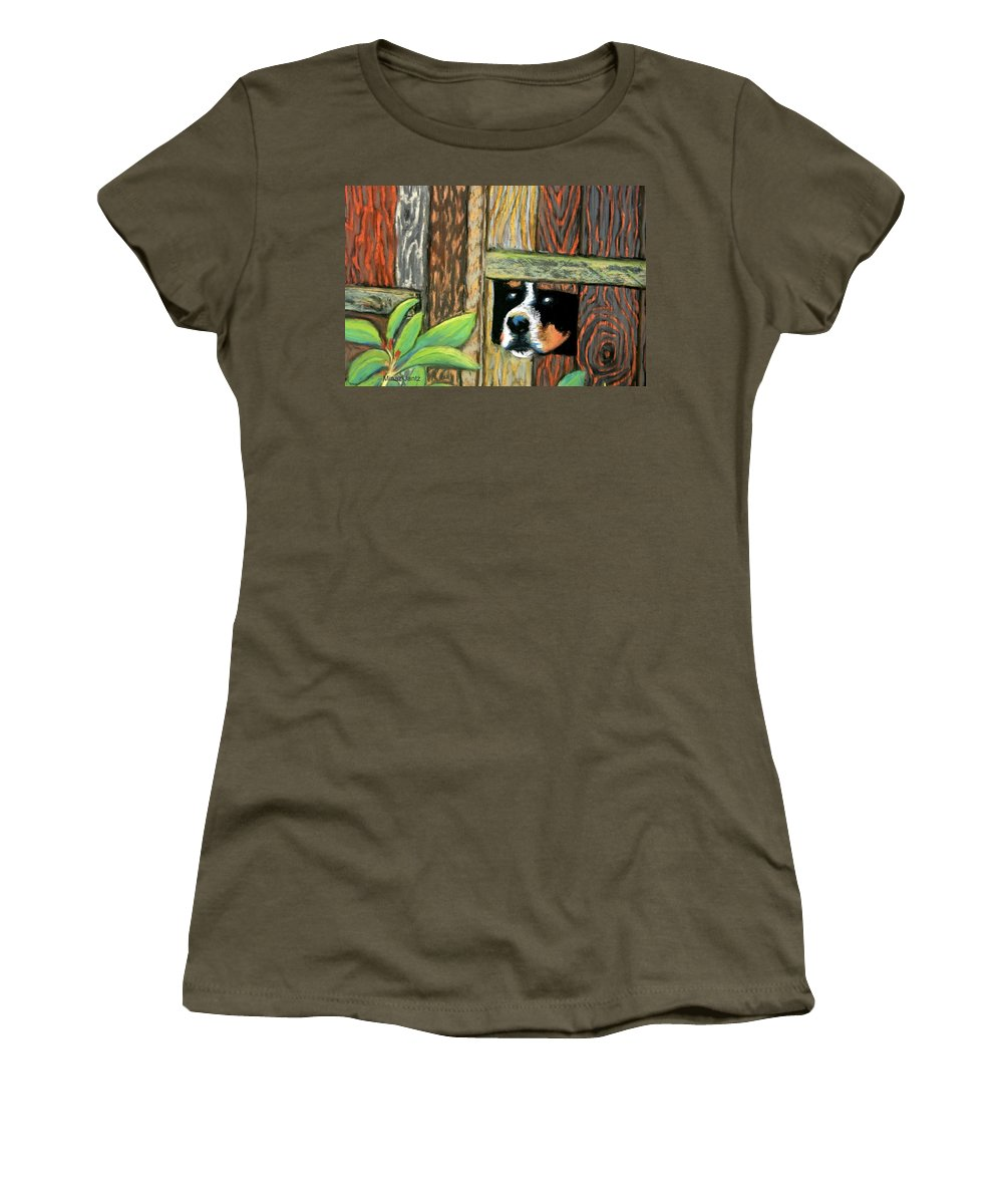 Dog Women's T-Shirt featuring the painting Peek-a-boo Fence by Minaz Jantz