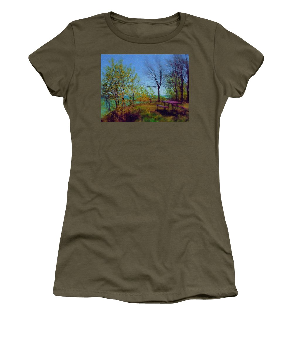 Lake Women's T-Shirt (Athletic Fit) featuring the digital art Picnic Table By The Lake by Anita Burgermeister