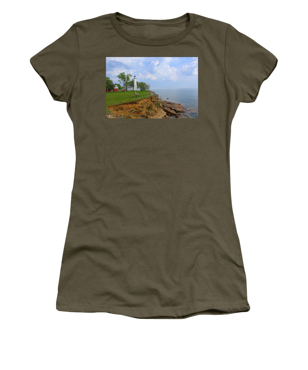 Lighthouse Women's T-Shirt featuring the photograph Pointe Aux Barques Lighthouse by Michael Rucker