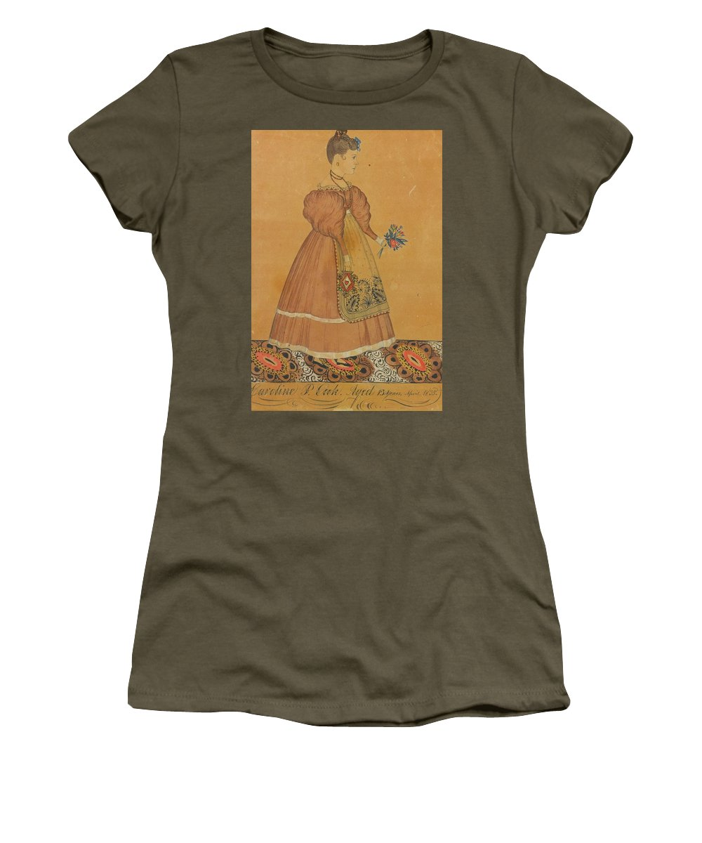 Joseph H. Davis ()  Portrait Of A Girl On A Patterned Carpet Women's T-Shirt (Athletic Fit) featuring the painting Portrait Of A Girl On A Patterned Carpet by MotionAge Designs