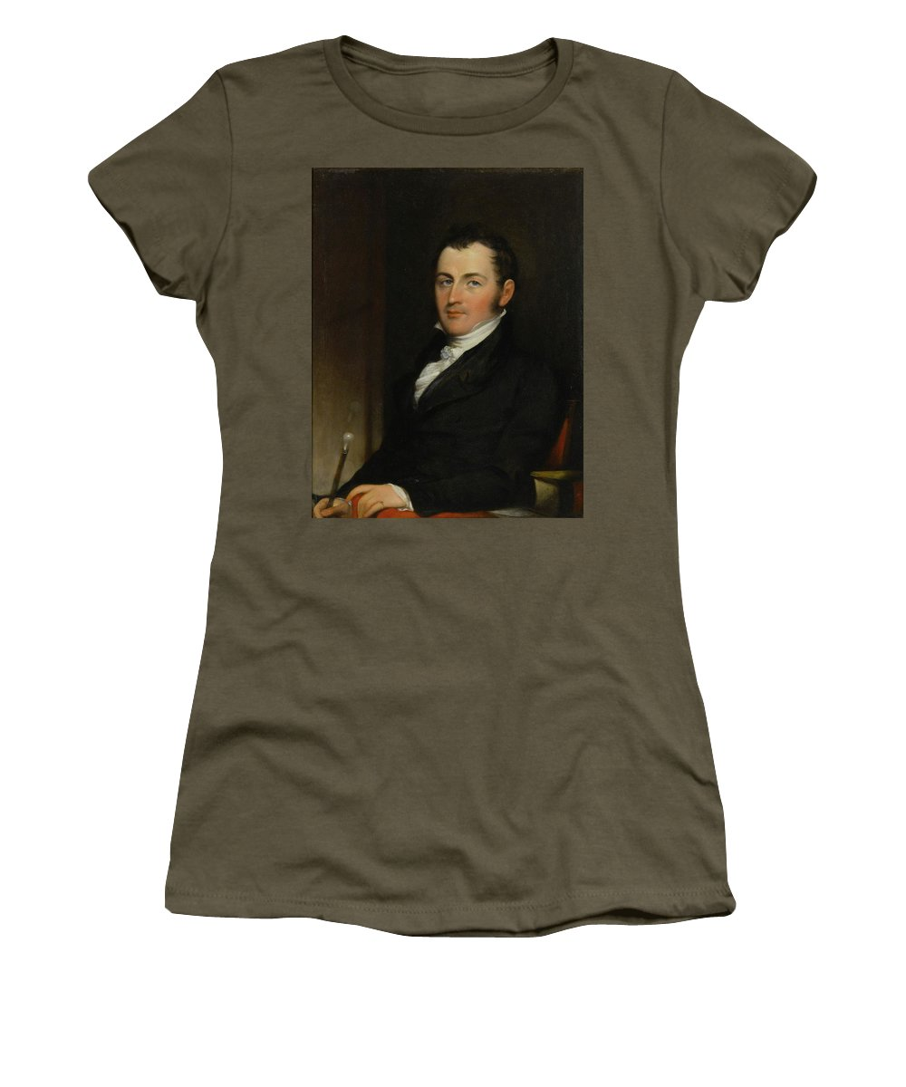 John Trumbull (1756 - 1843) Portrait Of George Gallagher Women's T-Shirt (Athletic Fit) featuring the painting Portrait Of George Gallagher by John Trumbull