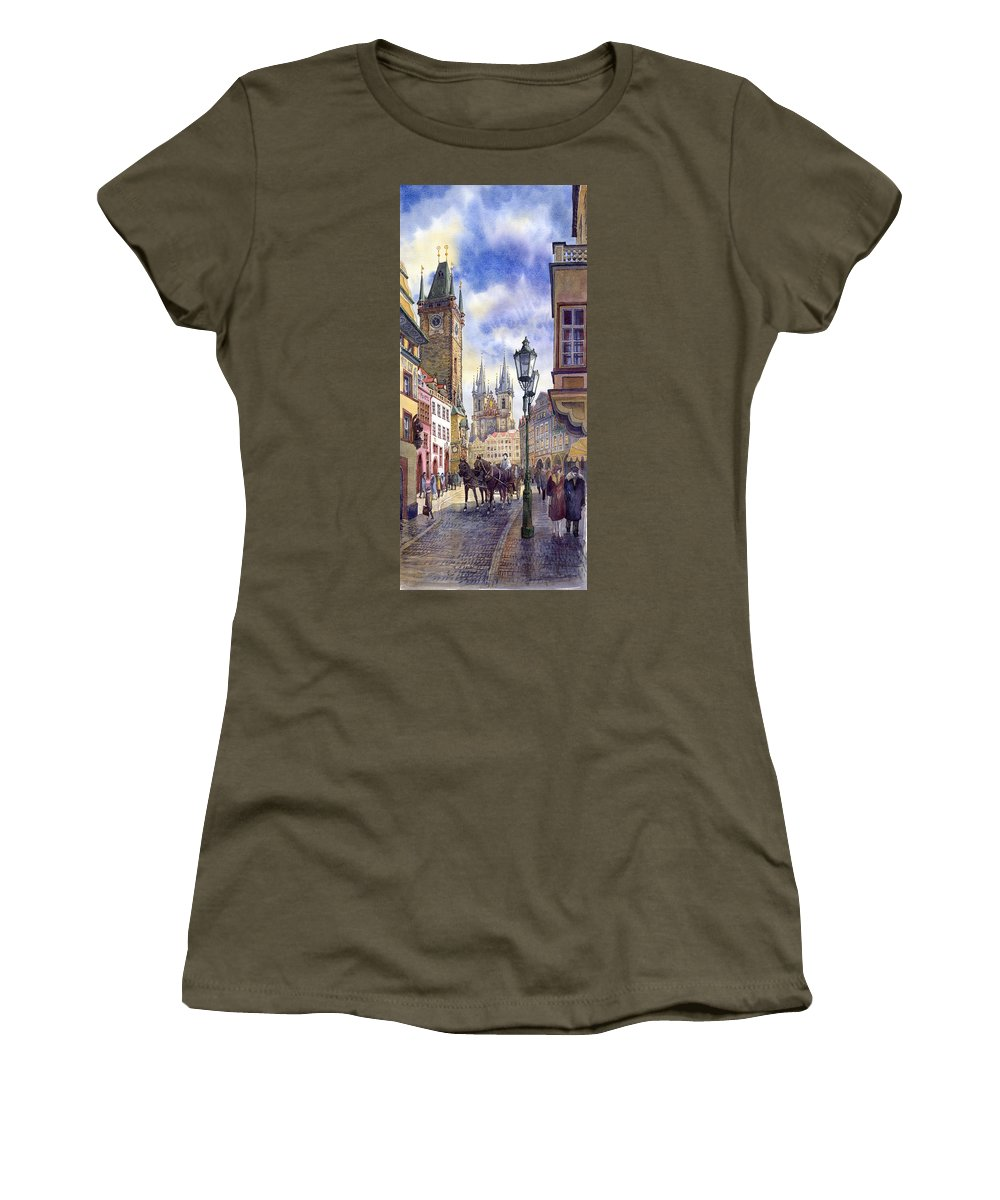 Watercolour Women's T-Shirt featuring the painting Prague Old Town Square 01 by Yuriy Shevchuk