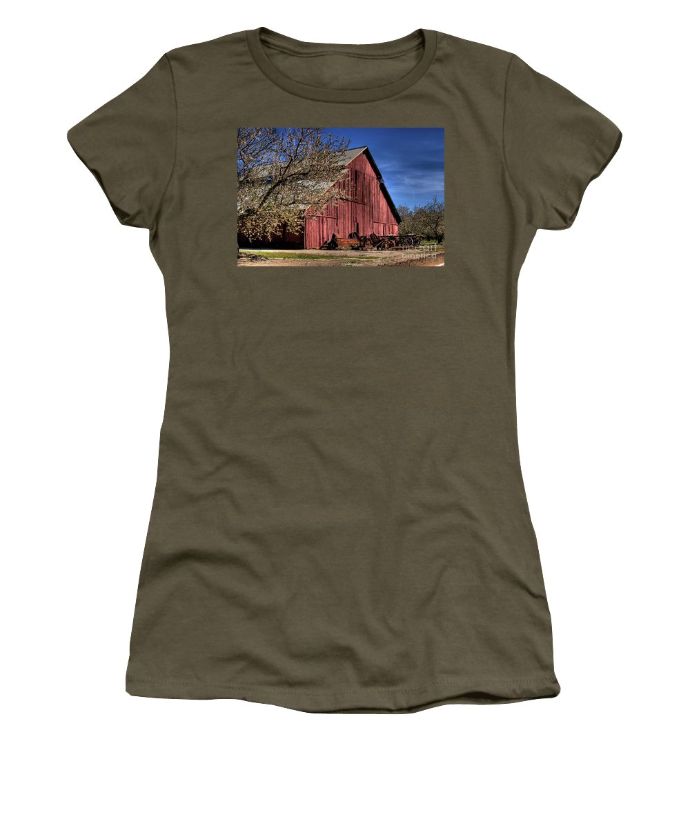 Barn Women's T-Shirt (Athletic Fit) featuring the photograph Red Barn by Jim And Emily Bush
