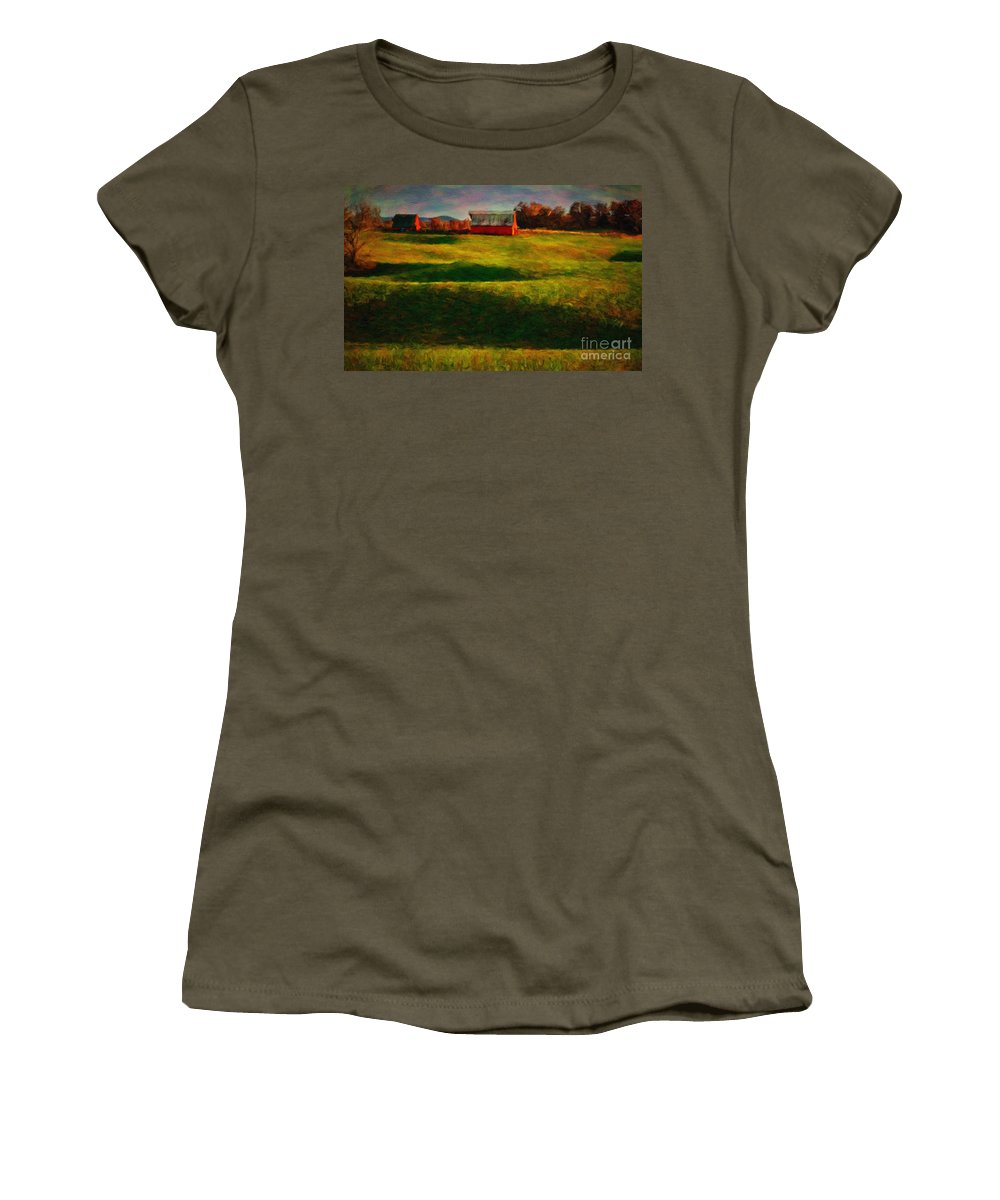 Red_barn Women's T-Shirt (Athletic Fit) featuring the photograph Rolling Hills And Red Barn, Rock Island, Tennessee by Stanton Tubb