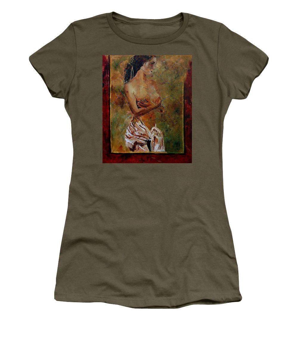 Nude Women's T-Shirt (Athletic Fit) featuring the painting Roman Nude 67 by Pol Ledent