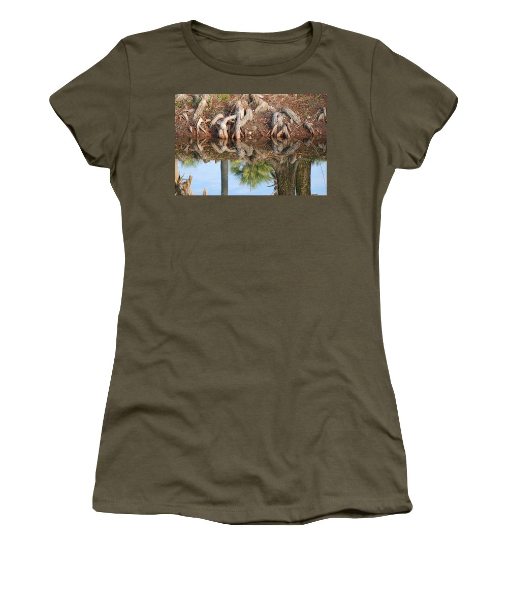 Roots Women's T-Shirt featuring the photograph Rooted Reflections by Rob Hans
