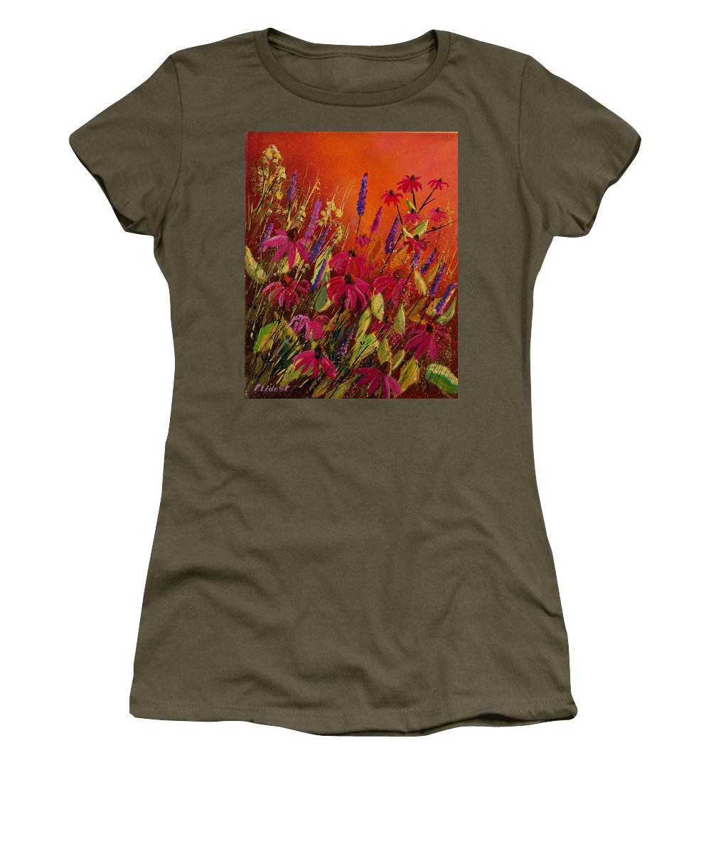 Flowers Women's T-Shirt featuring the painting Rudbeckias And Lyatris by Pol Ledent