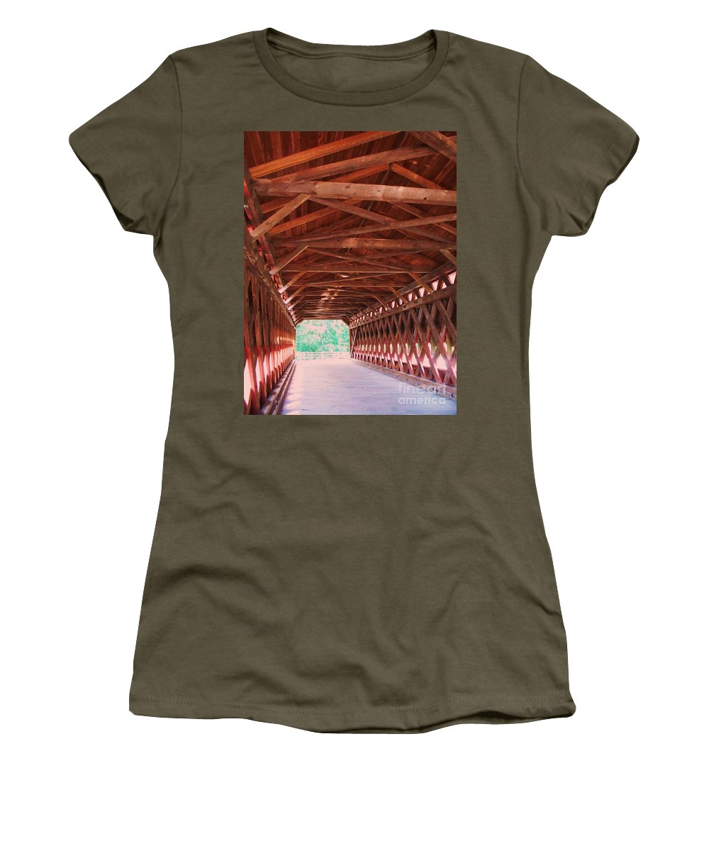 Gettysburg Women's T-Shirt (Athletic Fit) featuring the painting Sachs Bridge by Eric Schiabor