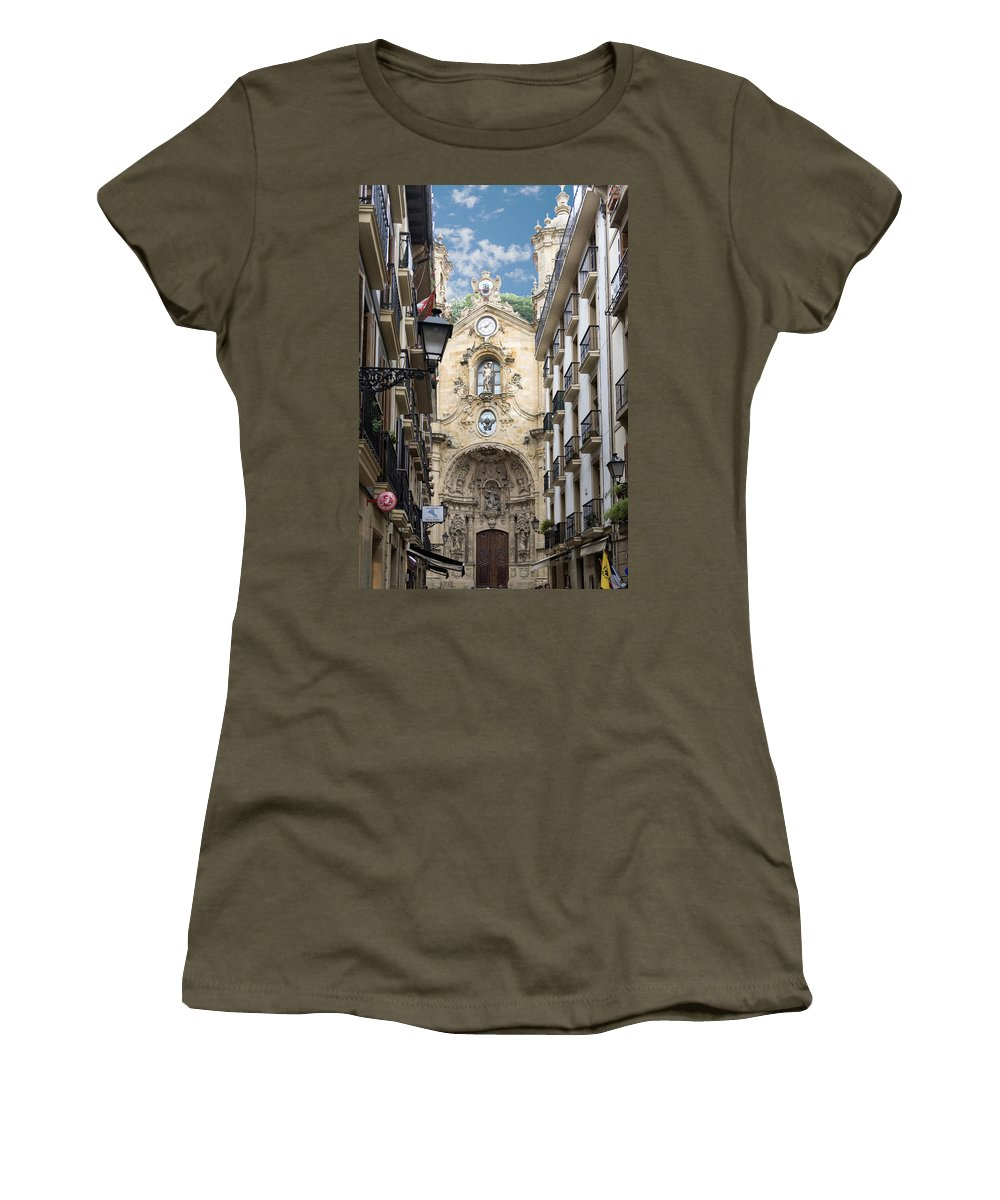 San Sebastian Women's T-Shirt featuring the photograph Basilica Of Saint Mary Of The Chorus - San Sebastian - Spain by Jon Berghoff