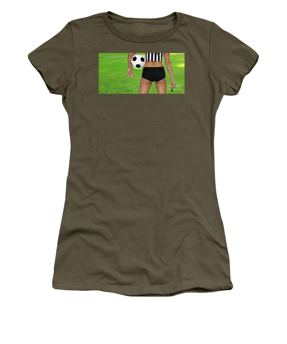 Soccer Women's T-Shirt featuring the photograph Sexy Referee by Oleksiy Maksymenko