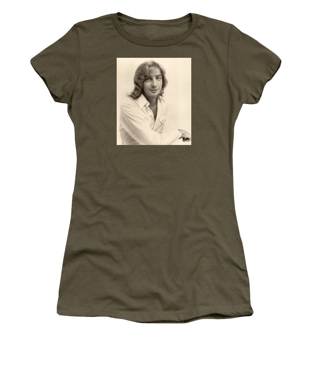 Publicity Photo Women's T-Shirt featuring the photograph Singer Barry Manilow 1975 by Mountain Dreams