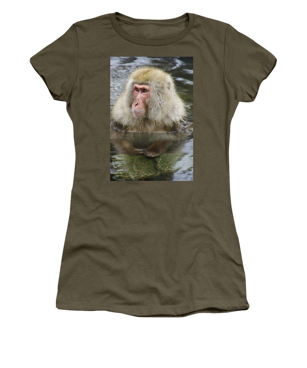 Snow Monkey Women's T-Shirt featuring the photograph Snow Monkey Bath by Michele Burgess
