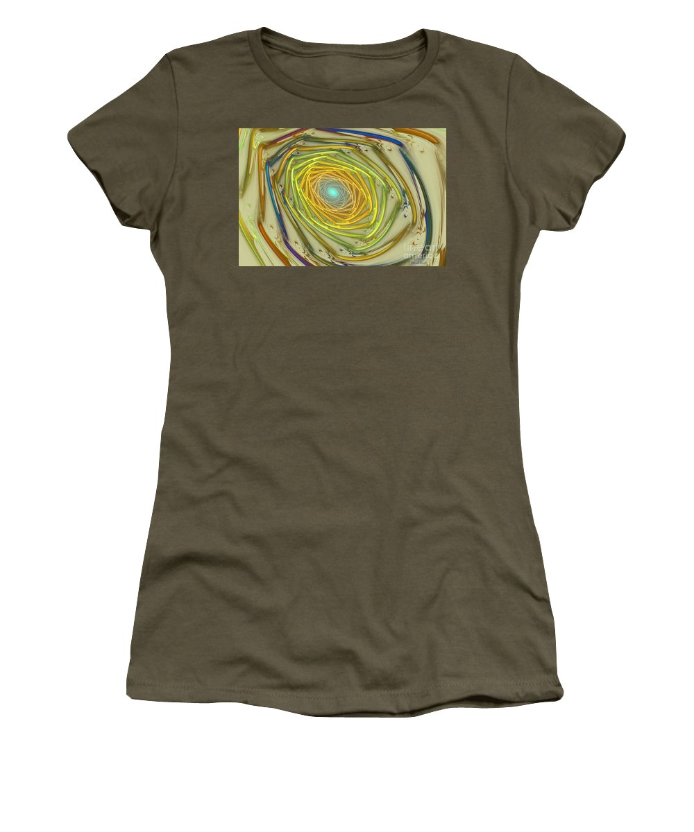 Fractal Women's T-Shirt featuring the mixed media Spiral Rainbow by Deborah Benoit
