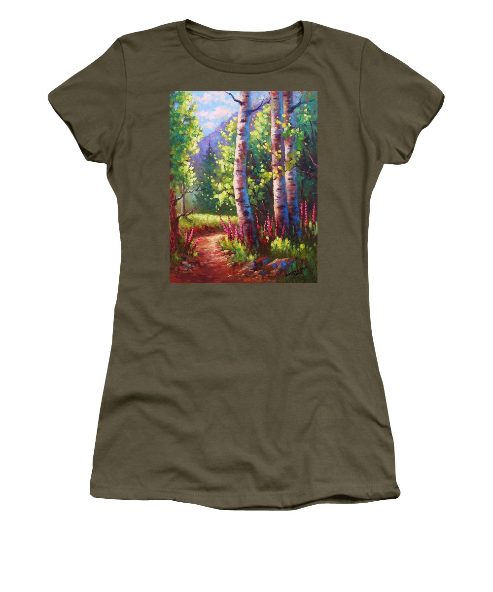 Aspen Women's T-Shirt (Athletic Fit) featuring the painting Spring Path by David G Paul