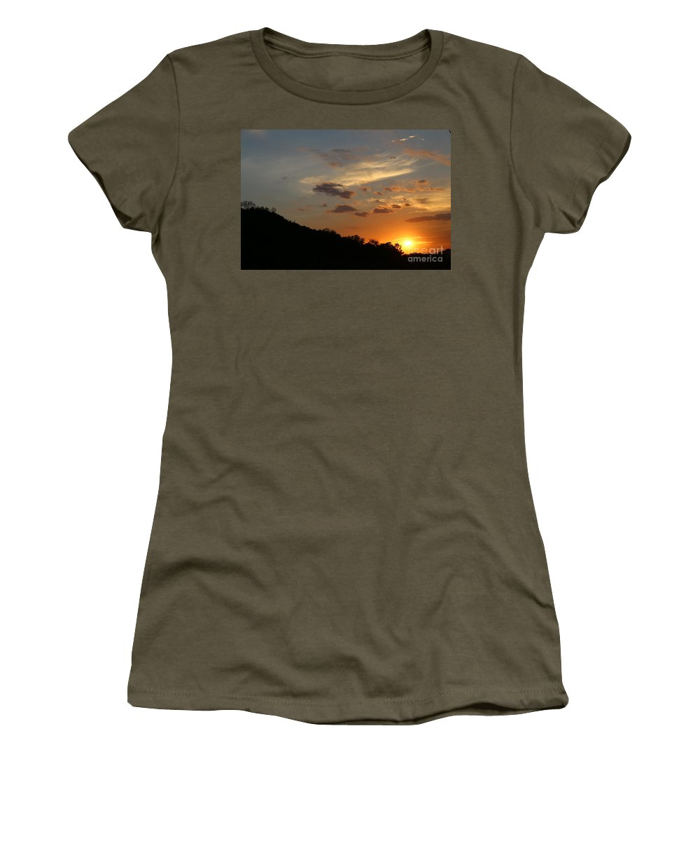 Women's T-Shirt featuring the photograph Sun Set by Jeff Downs