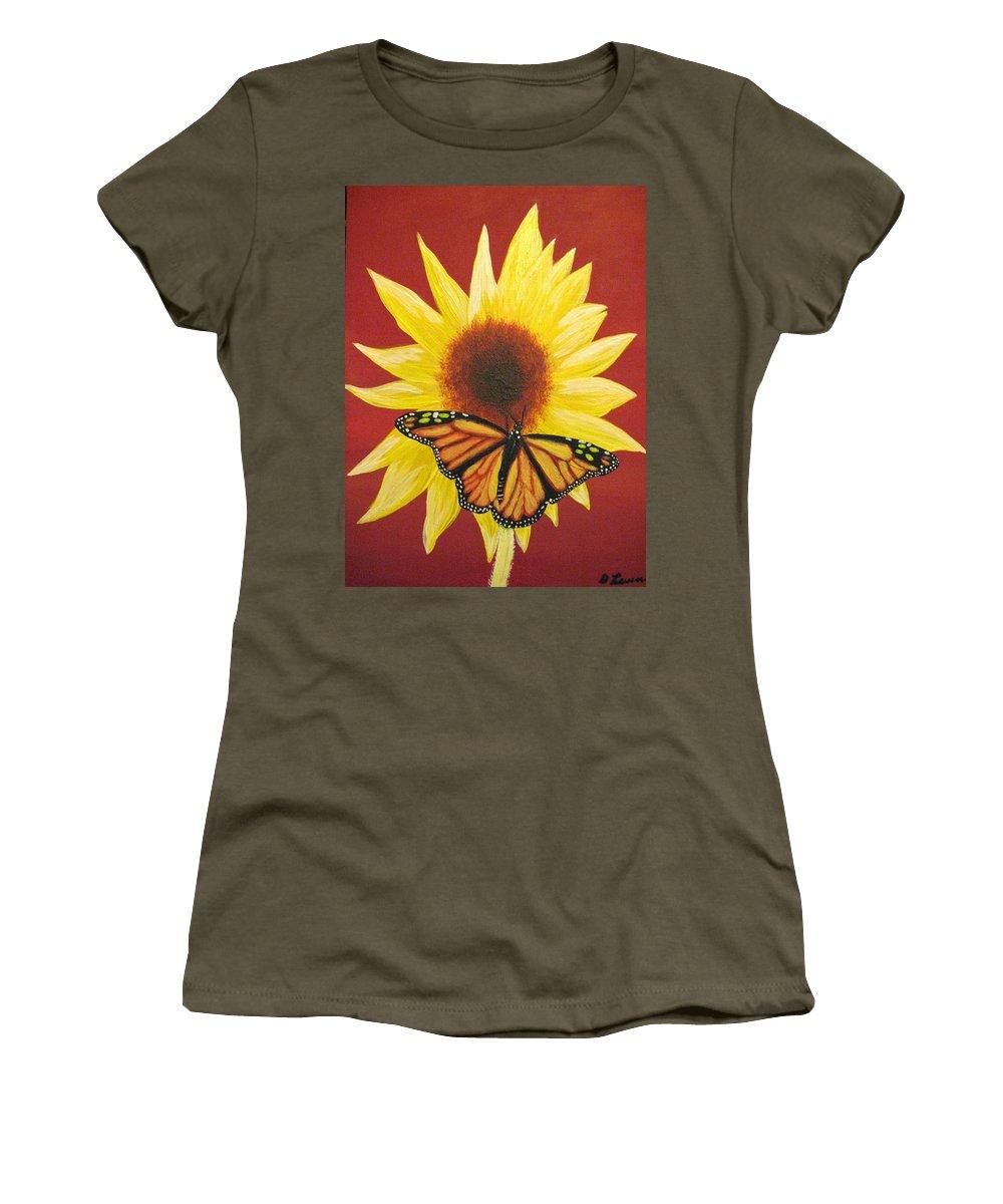 Sunflower Women's T-Shirt featuring the painting Sunflower Monarch by Debbie Levene