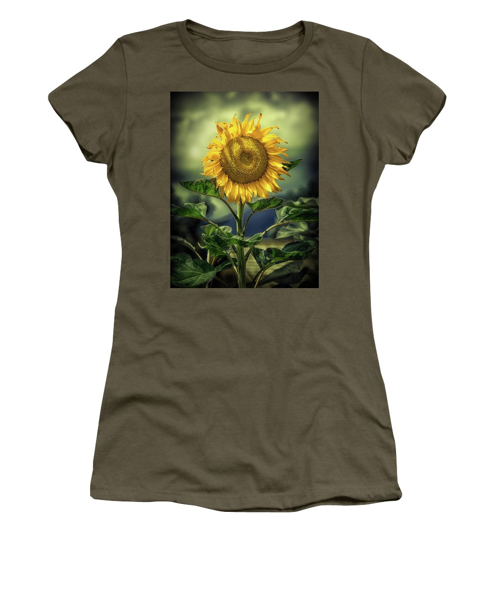 Sunflower Women's T-Shirt (Athletic Fit) featuring the photograph Sunflower by Naman Imagery