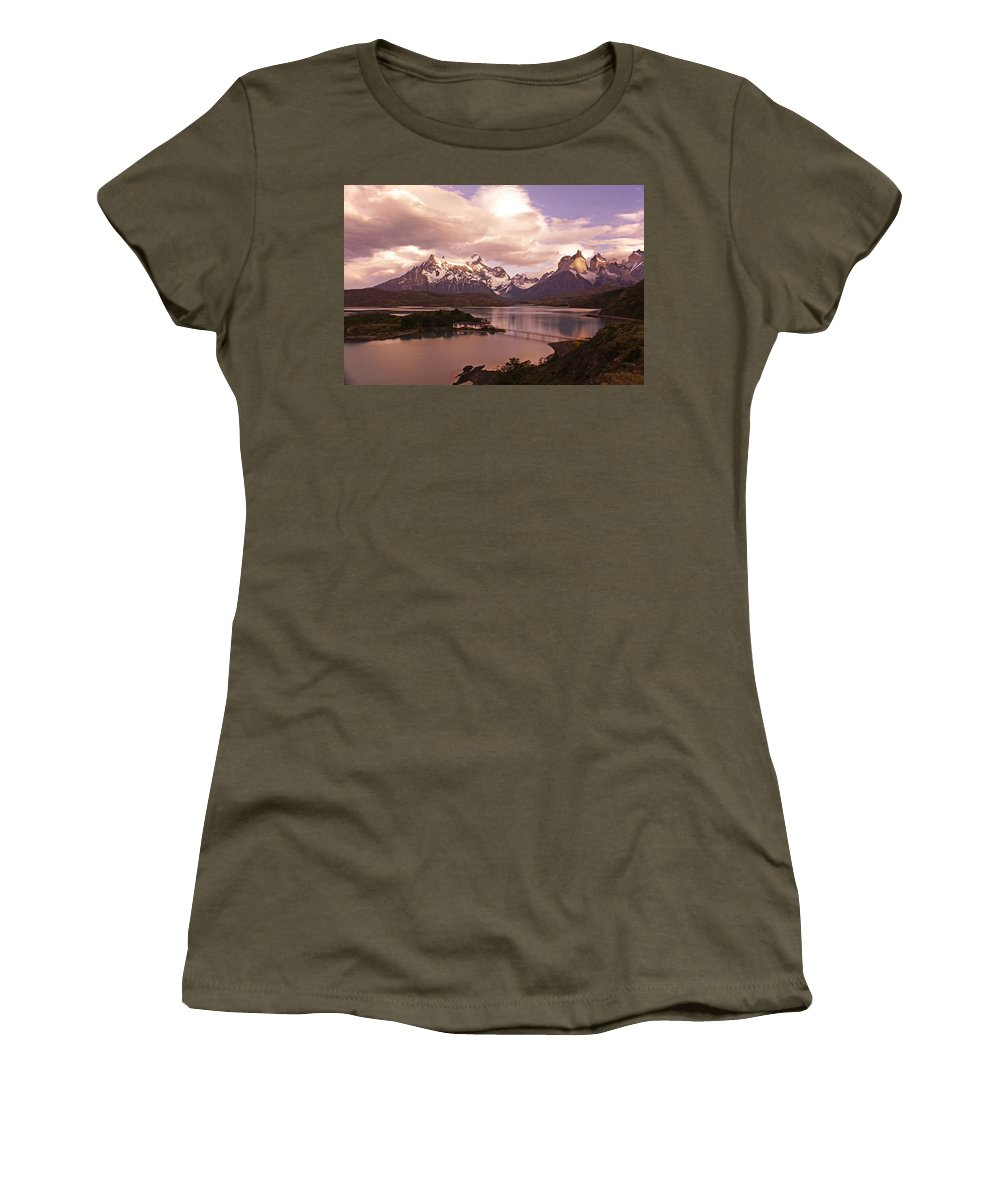 Chile Women's T-Shirt featuring the photograph Sunrise In Torres Del Paine by Michele Burgess