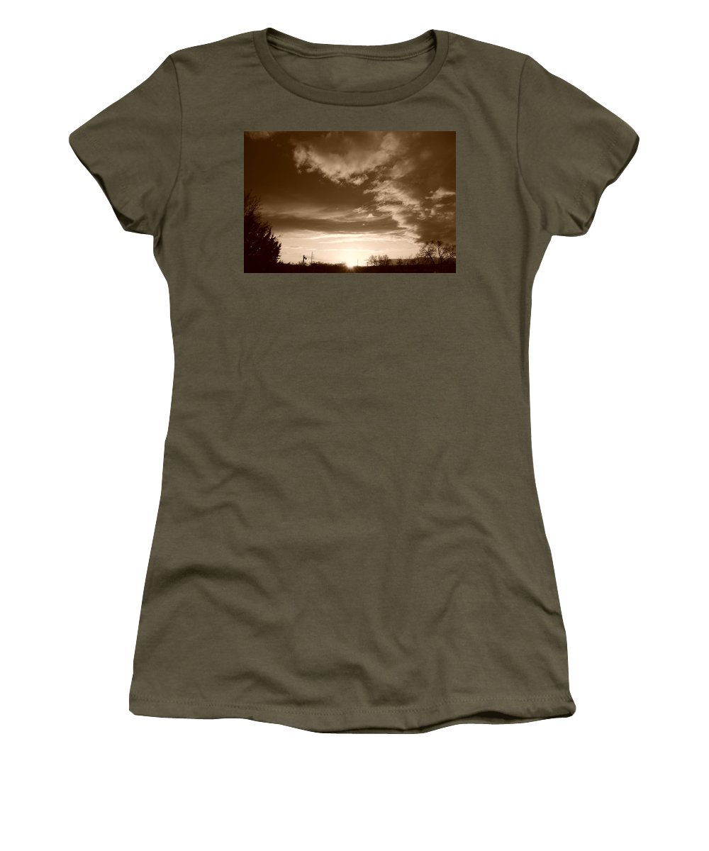 Sunset Women's T-Shirt (Athletic Fit) featuring the photograph Sunset And Clouds by Rob Hans