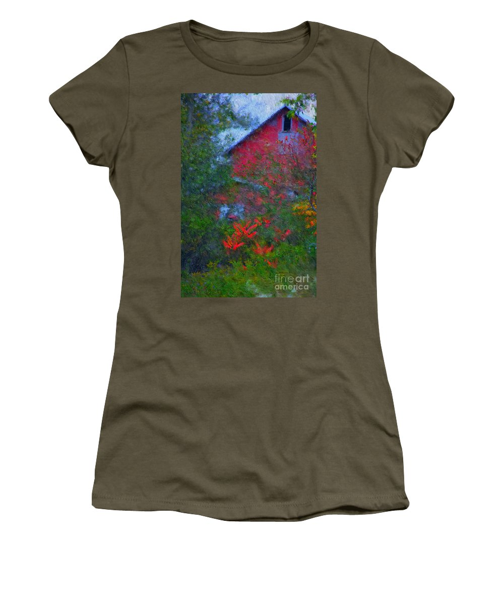 Digital Photo Women's T-Shirt (Athletic Fit) featuring the photograph The Barn by David Lane
