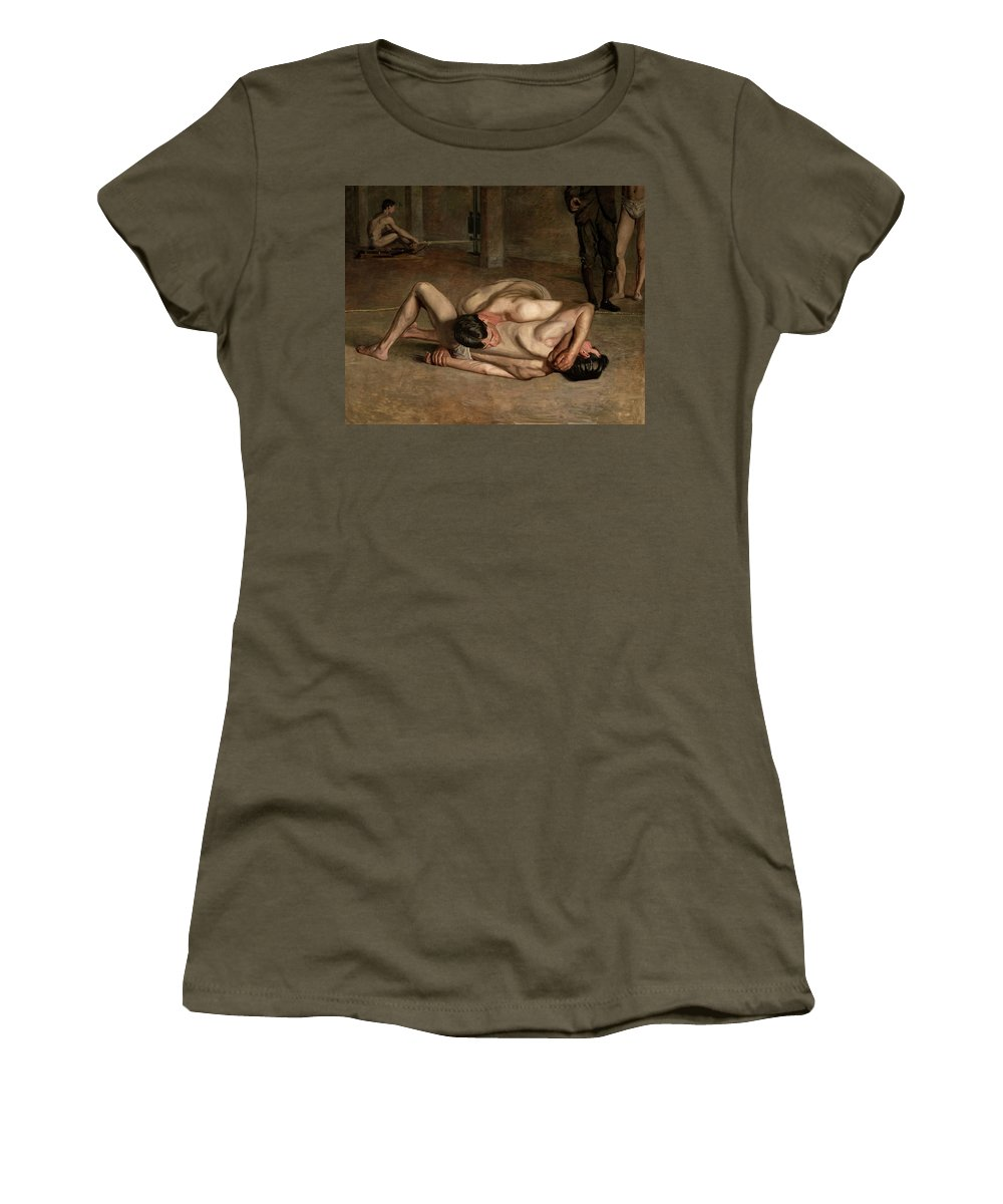 America Women's T-Shirt featuring the painting The Wrestlers by Thomas Eakins