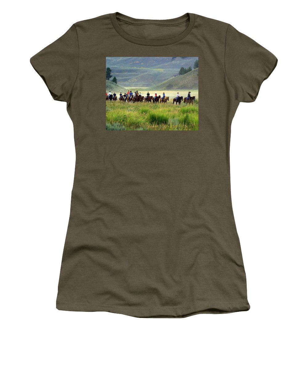 Trail Ride Women's T-Shirt featuring the photograph Trail Ride by Marty Koch