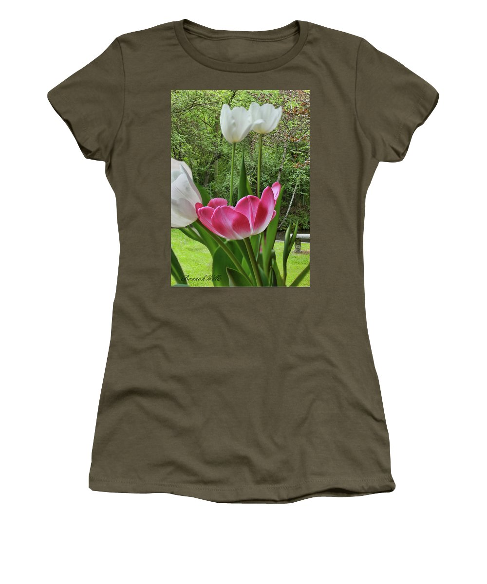 Tulip Women's T-Shirt featuring the photograph Tulips by Bonnie Willis
