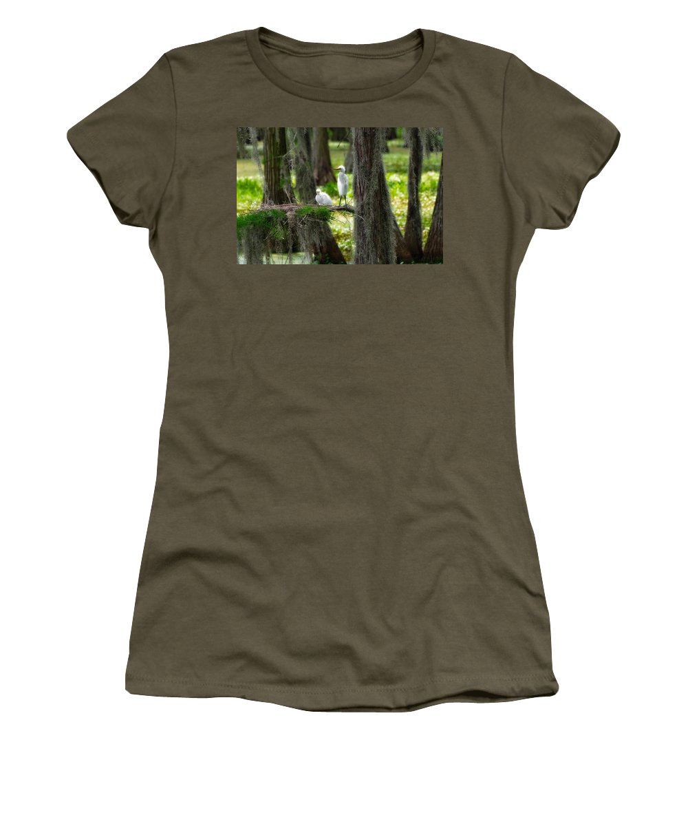 Bird Women's T-Shirt featuring the photograph Two Baby Great Egrets And Nest by Rich Leighton