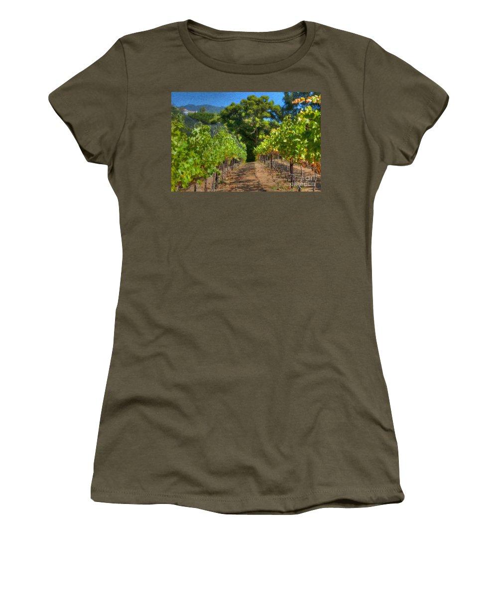 Vineyard Women's T-Shirt (Athletic Fit) featuring the photograph Vineyard Sauvignon Blanc Grapes by David Zanzinger