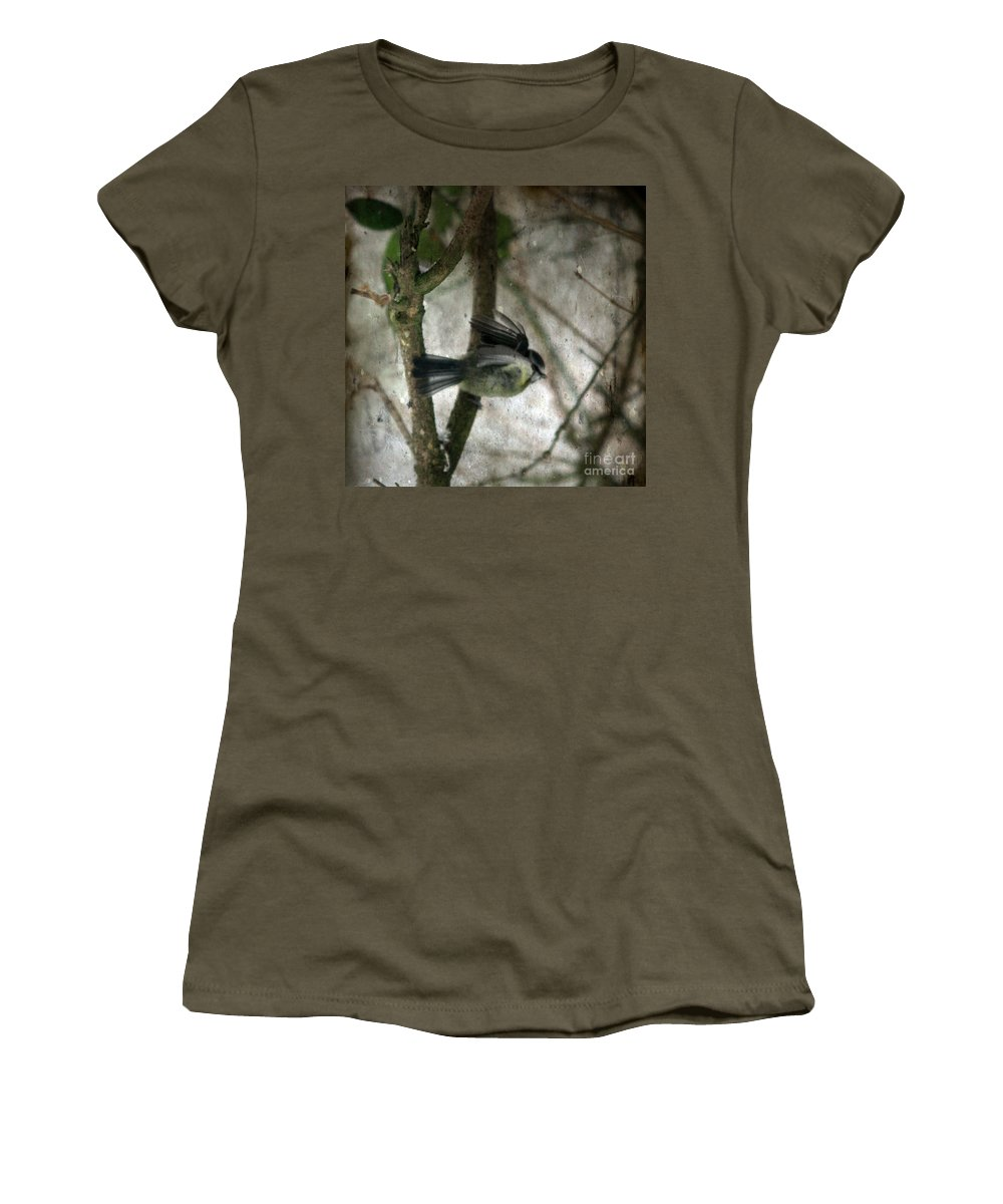 Blue Tit Women's T-Shirt (Athletic Fit) featuring the photograph Waiting For Spring by Angel Tarantella