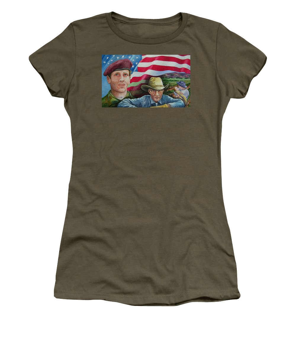 Soldier Women's T-Shirt featuring the painting We Hold These Truths by Gale Cochran-Smith