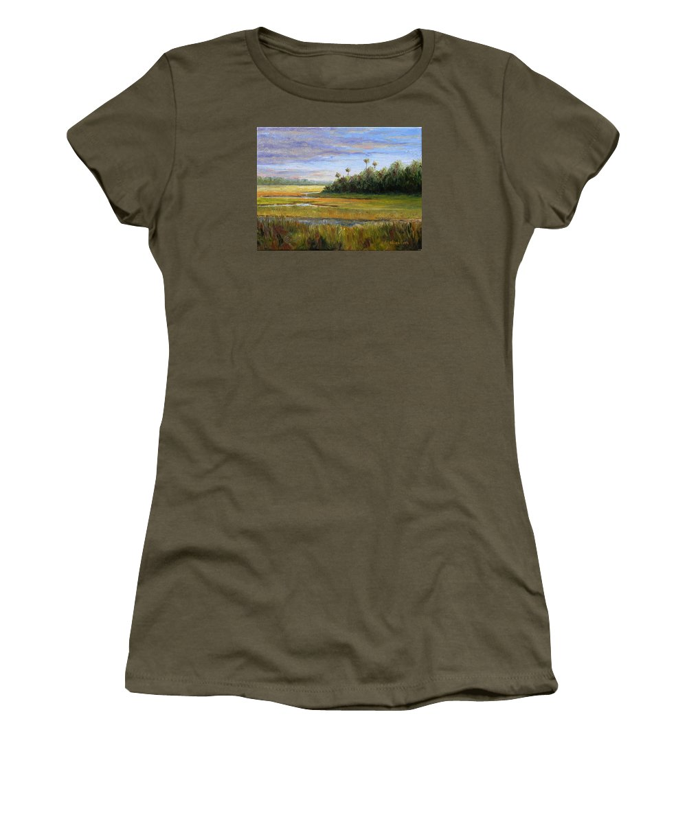 Marsh Women's T-Shirt (Athletic Fit) featuring the painting Yellow Marsh by Beth Maddox